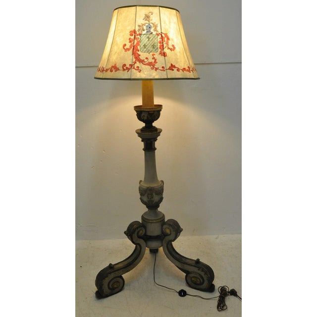 Giltwood Mid-19th Century Italian Carved and Painted Floor Lamp For Sale - Image 7 of 7