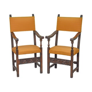Antique Pair of Italian 19th Century Walnut High Back Throne Arm Chairs For Sale