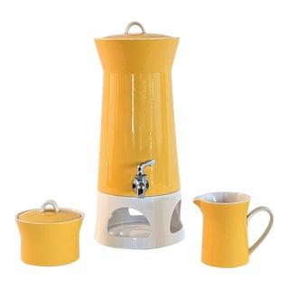 1960s Mikasa Duplex by Ben Seibel Yellow Samavar Drink Dispenser - Set of 3 For Sale