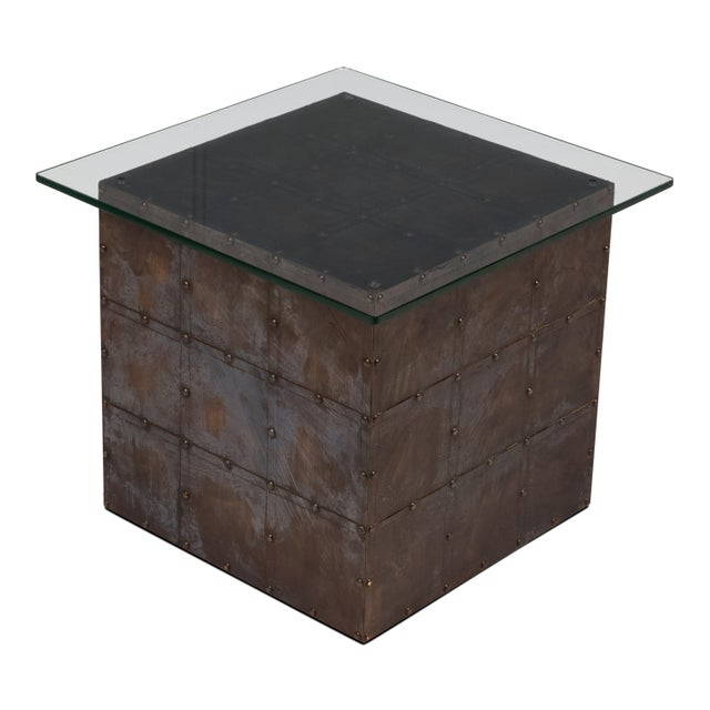 Holbrook Brass Cube With Glass Top For Sale In Raleigh - Image 6 of 6