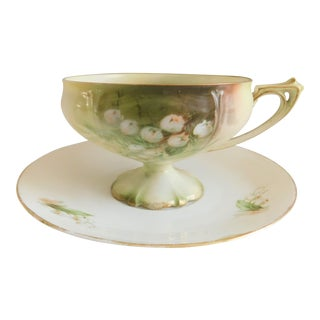 Rs Prussia Antique Hand-Painted Lily Porcelain Tea Cup and Saucer Set For Sale