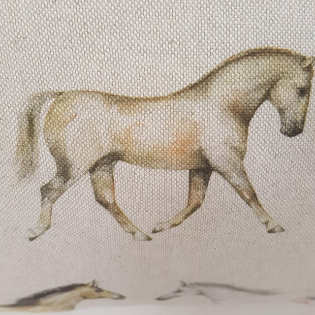 Cotton Horses Accent Pillow For Sale - Image 7 of 13