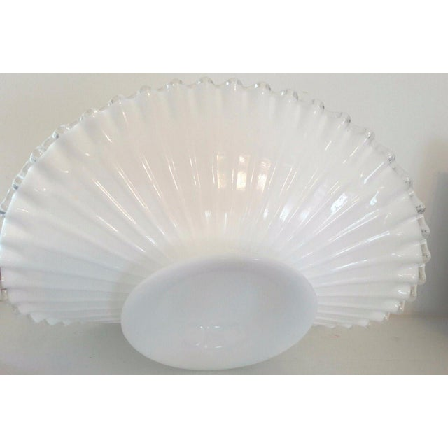 Fenton Milk Glass Silver Crest Banana Bowl Centerpiece For Sale In Atlanta - Image 6 of 6