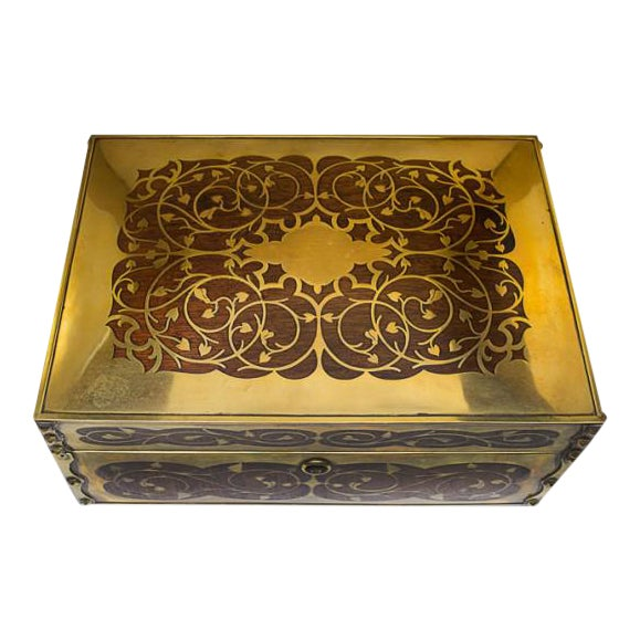 19th Century Antique English Arts and Crafts Style Mahogany Cigar Humidor With Brass Inlaiy For Sale