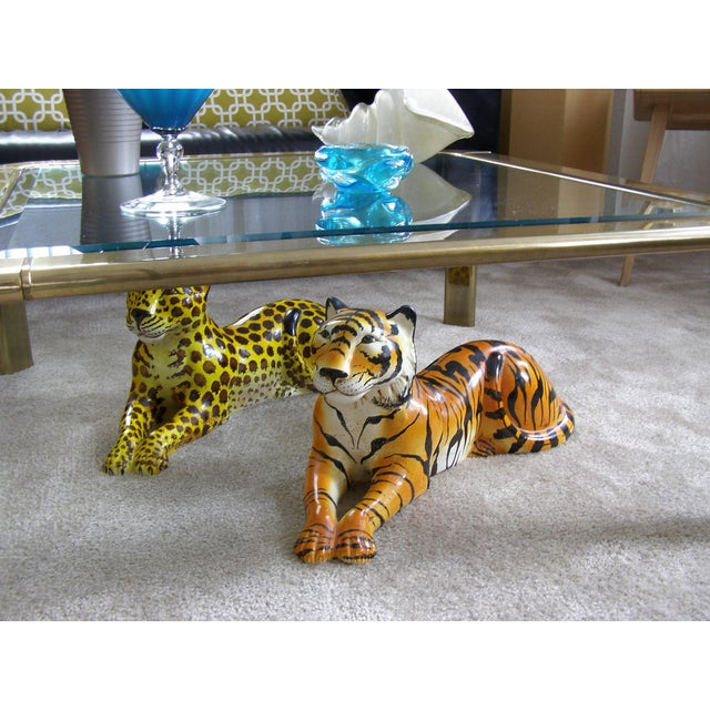 Mid-Century Modern Italian Ceramic Cheetah Sculpture Hollywood Regency Style MCM Italy Majolica Millennial For Sale - Image 11 of 11