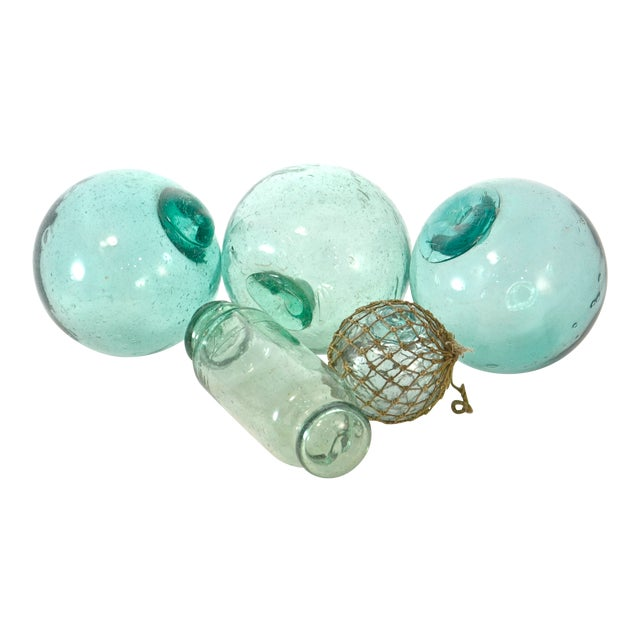 Blue Green Blown Glass Floats - Set of 5 For Sale