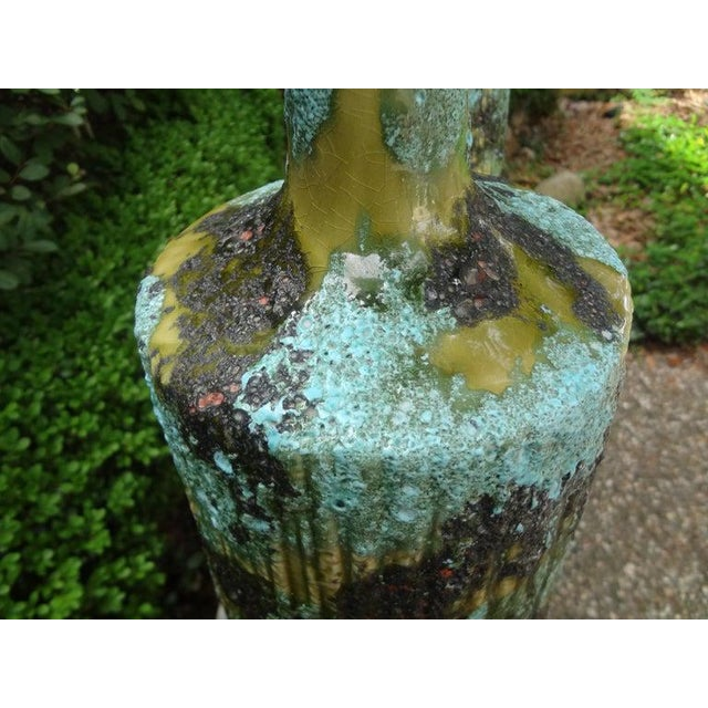 Larger Italian Bitossi Attributed Glazed Ceramic Lamps-A Pair For Sale In Houston - Image 6 of 13