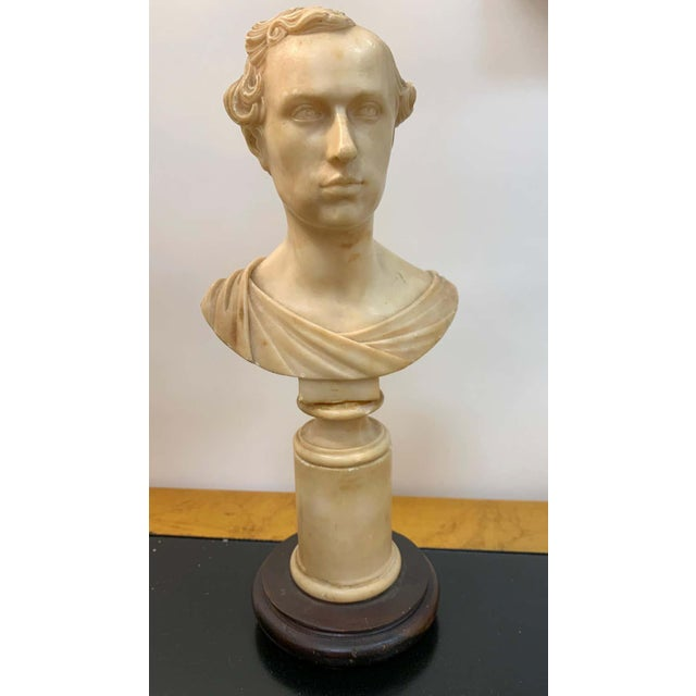 Alabaster Italian Neoclassical Alabaster Portrait Bust of a Gentleman, by Insom Fece, 1839 For Sale - Image 8 of 12