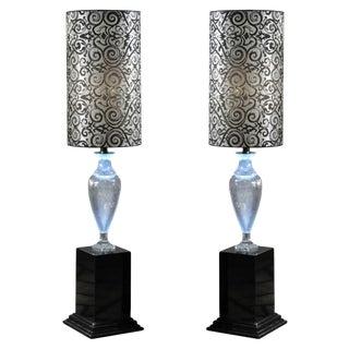 Italian Lead Crystal Amphora Floor Lamps For Sale