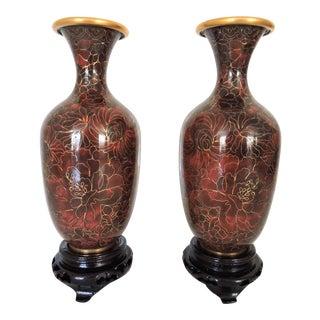 Thousand Flower Cloisonne Vases - a Pair