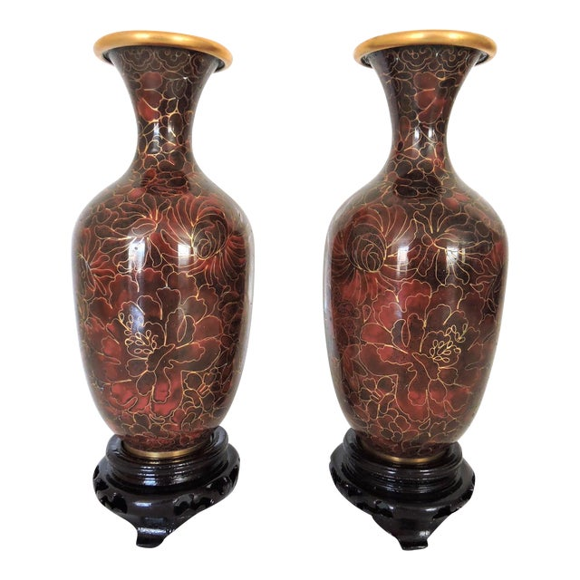 Vintage Thousand Flower 1000 Chinese Cloisonne Vases A Pair
