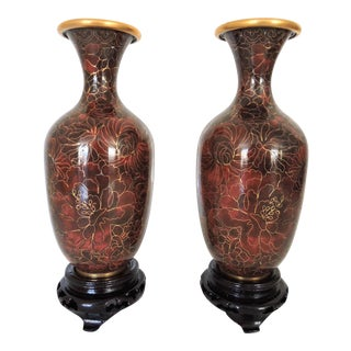 Vintage 'Thousand Flower' Chinese Cloisonne Enamel Vases - a Pair (Boxed With Stands) For Sale