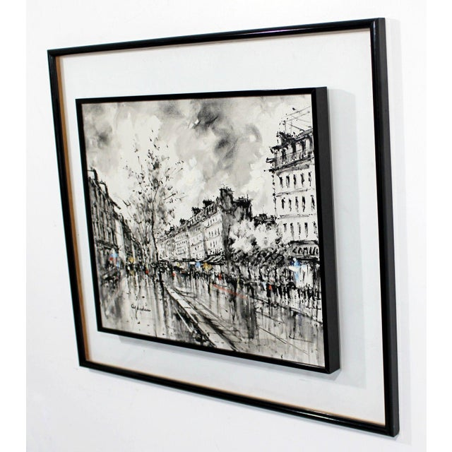 Canvas Mid-Century Modern Framed Paris Street Scene Oil Painting on Canvas Signed For Sale - Image 7 of 11