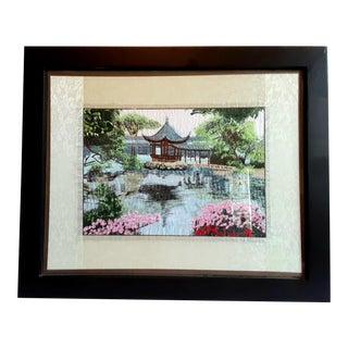 Vintage Chinese Framed Silk Embroidered Panel Textile Art of Landscape Garden For Sale