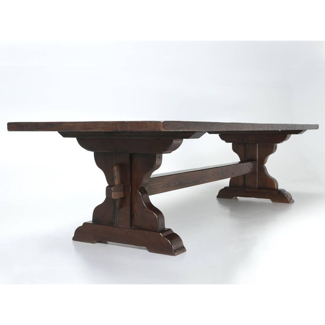Brown Antique French Oak Trestle Dining Table, Seats 12 For Sale - Image 8 of 13