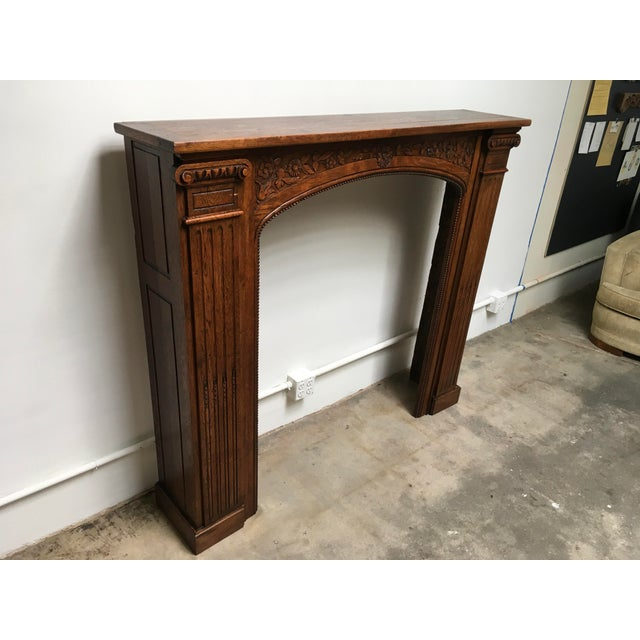 Beautiful 19th Century Solid Oak Mantle in a Neo-Classical / Victorian / Art Nouveau mix of styles. The carving on this...