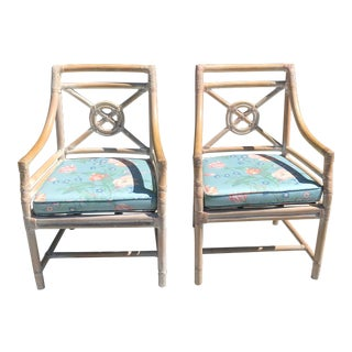 McGuire Rattan Target Back Host Chairs Arm Chairs - a Pair For Sale