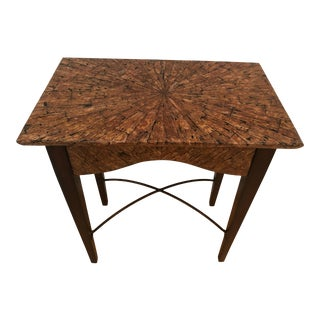 Vintage Tessellated Wood Floating Top Accent Table For Sale