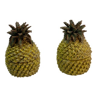 Spanish Yellow Ceramic Pineapples Jars - a Pair For Sale