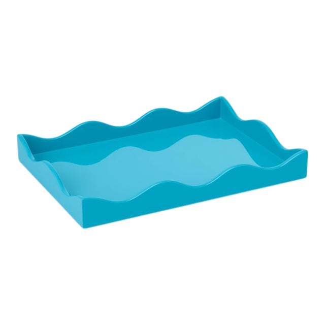 Rita Konig for The Lacquer Company Small Belles Rives Tray In Splash Blue For Sale