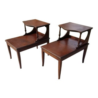 1950s Mid Century Modern 2 Tiered End Tables - a Pair For Sale