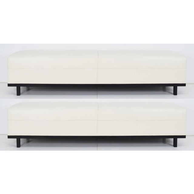 Pair of Christian Liaigre Nankin Benches in White Leather For Sale - Image 10 of 10
