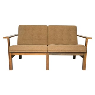 Moduline Sofa Love Seat in Rosewood and Camel Wool For Sale