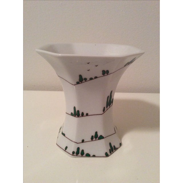 This is a fabulous vintage Arzgerg Baumann Design porcelain vase with stylized cypress trees winding up the vase in...