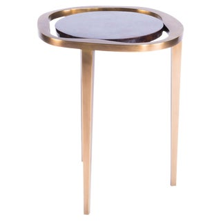 Nesting Side Table Lily S in Black Shell and Bronze Patina Brass by R&y Augousti For Sale