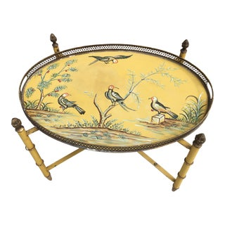 1960s Chinoiserie Tole Bird Tray Table For Sale