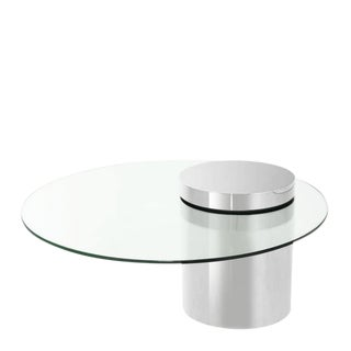 Modern Eichholtz Equilibre Glass Top Silver Base Coffee Table For Sale