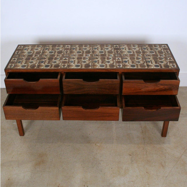 Royal Copenhagen Severin Hansen Vintage Danish Rosewood and Royal Cph Tile Chest of Drawers For Sale - Image 4 of 6