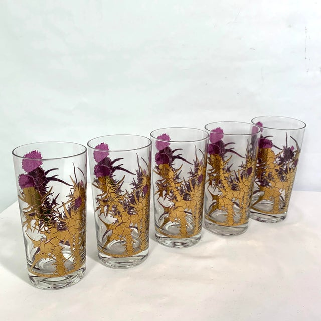 Metal Mid-Century Modern Gregory Duncan Purple Gold Thistle Barware Ice Bucket & Highball Glasses - Set of 6 For Sale - Image 7 of 13