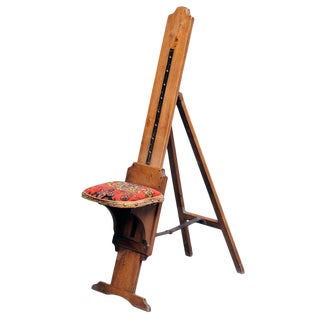 English Oak Easel and Seat Combination For Sale