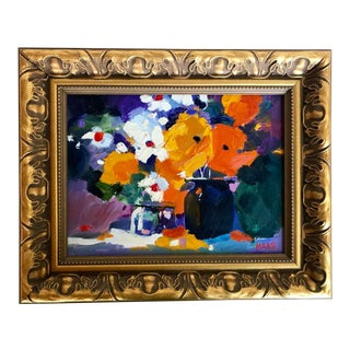 Original Oil Painting, Abstract Floral, Ted Goerschner Style For Sale