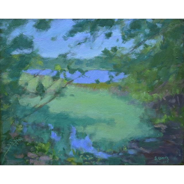 """Stephen Remick """"Ocean Through the Trees"""" Contemporary Plein Air Painting For Sale - Image 9 of 12"""