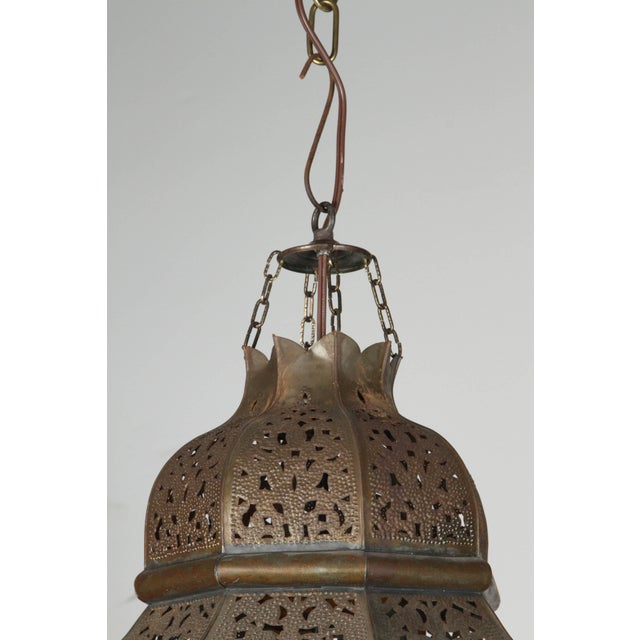 Moroccan Artist Moroccan Moorish Hanging Lantern With Milky Glass For Sale - Image 4 of 7