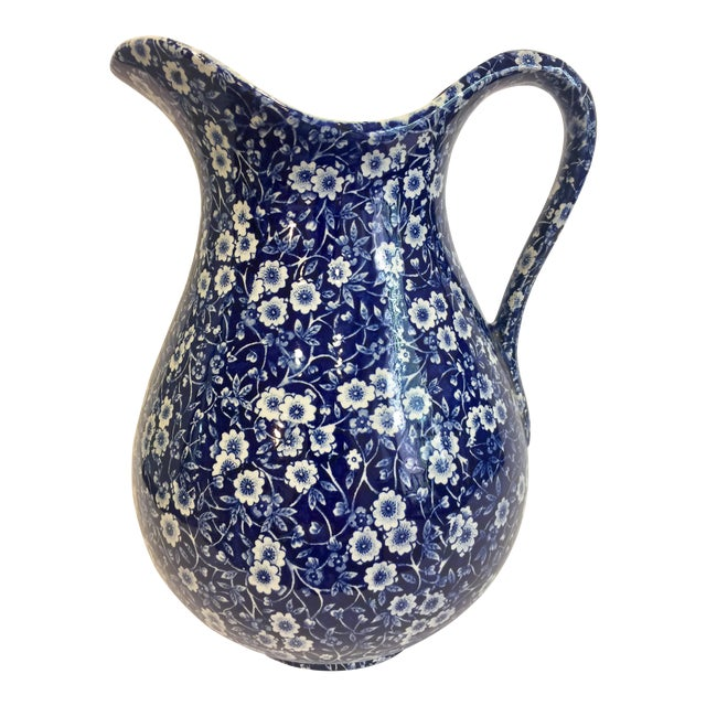 Staffordshire Calico Blue Pitcher For Sale