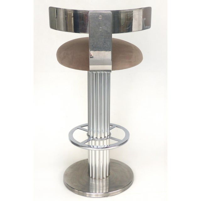 1980s Designs for Leisure Brushed Stainless Steel Bar Stools 1980s- Set of 3 For Sale - Image 5 of 13