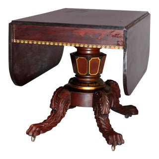 American Empire Classical Flame Mahogany and Gilt Table, Manner of Meeks For Sale
