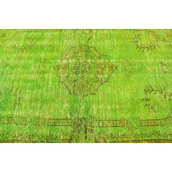 Vintage Green Overdyed Rug - 5′1″ × 8′1″ - Image 5 of 6