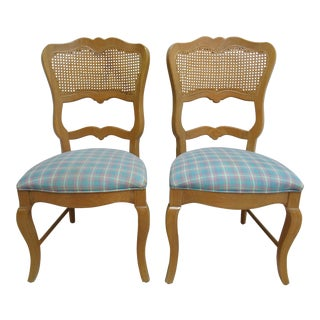 Century Furniture Oak French Country Dining Room Cane Arm Chairs - A Pair For Sale