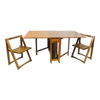 Danish Modern Hideaway Gateleg Table & Chairs - Set of 3