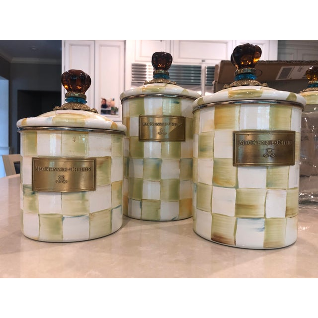 Mackenzie Childs Parchment Check Enamel Kitchen Jars - Set of 5