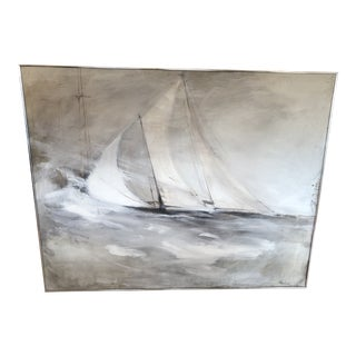 Striking Sailboat Painting in Muted Greys and White For Sale