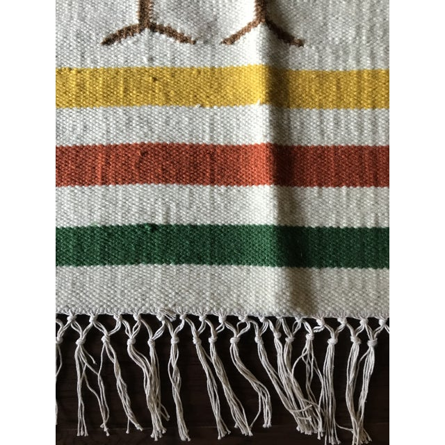 Mid Century Modern Style Wool Bird Tapestry Tassel Wall Hanging For Sale - Image 4 of 6