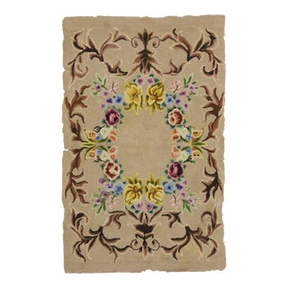 Antique American Hooked Rug With French Aubusson Style - 02'10 X 04'06 For Sale