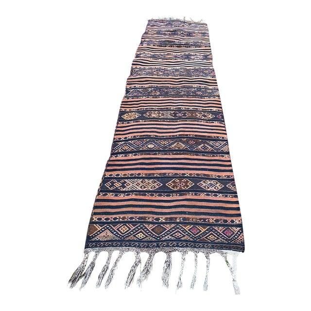 Antique Nomadic Embroidered Cecim Kilim Runner Rug For Sale