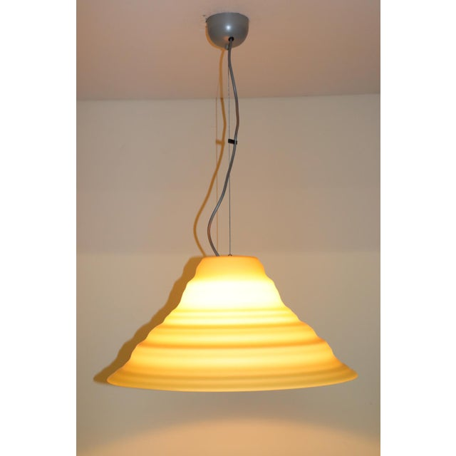 """Murano Pendant Lamp Hand Blown """"Incamiciato"""" Amber Glass with satin finish. Metal canopy and details lacquered light grey...."""