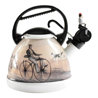 Vintage Bicyclist Tea Kettle For Sale